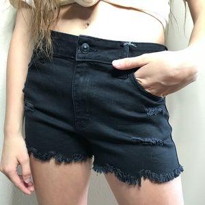 Black Shredded Shorts
